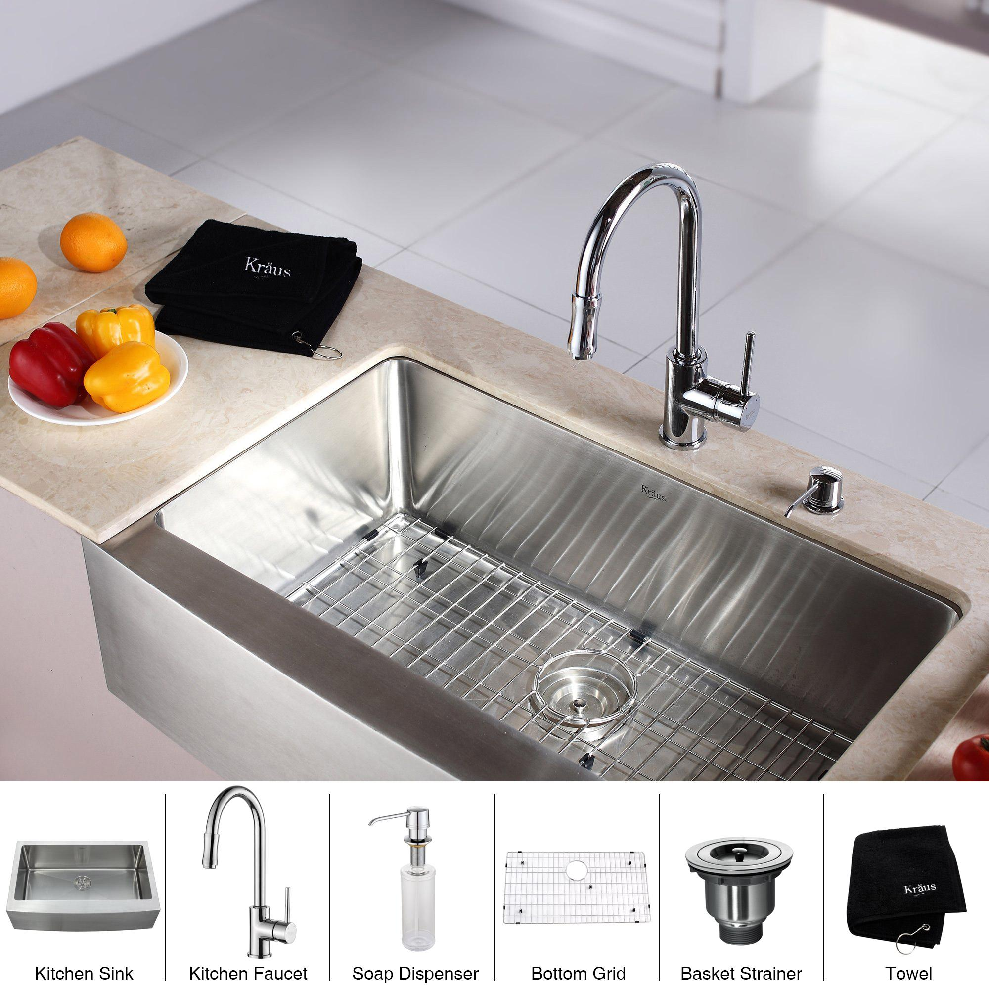 Kraus 33 farmhouse stainless steel kitchen sink chrome faucet soap dispenser ebay - Kitchen sink soap pump ...