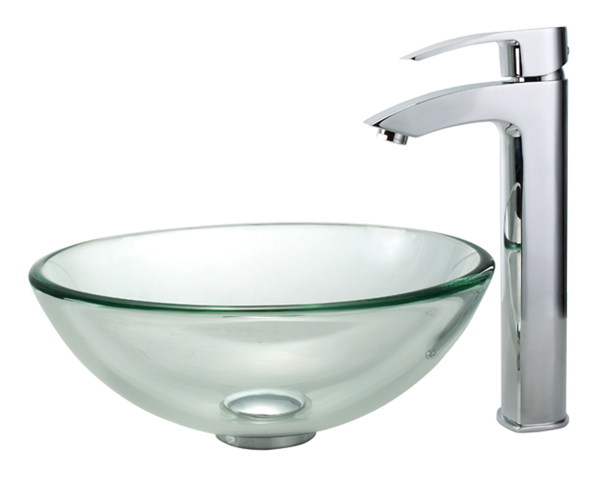 Inch vessel sink bathroom glass and faucet combination for Best rated bathroom sink faucets